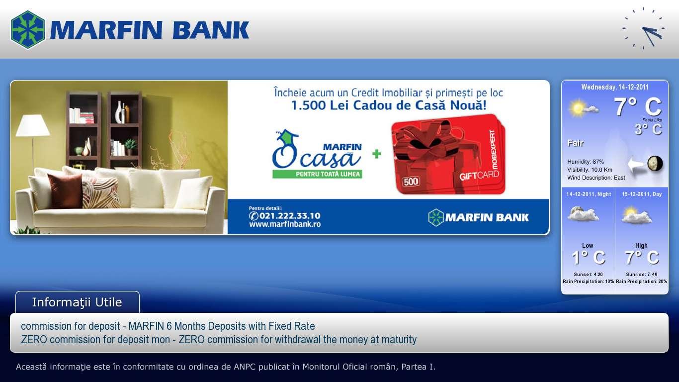Marfin Bank Romania Digital Signage